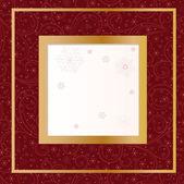 красная карточка со снежинками — Cтоковый вектор
