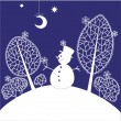 Royalty-Free Stock Vector Image: Christmas card with snowman