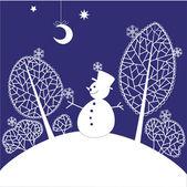 рождественская открытка со снеговиком — Cтоковый вектор
