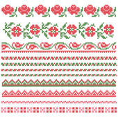 Floral decorativ element, borduurwerk — Stockvector