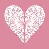 Carte avec coeur de roses — Vecteur