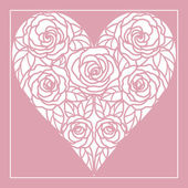Card with heart of roses — Stock Vector