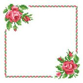 Frame of roses, embroider — Stock Vector