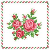 Bouquet of the roses, embroider — Stock Vector
