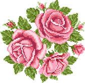 Bouquet de roses, broder — Vecteur