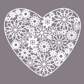 Greeting card with heart of lace — Vector de stock