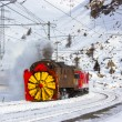 Snowplow steam — Stock Photo