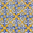 Tile decorated by hand — Stock Photo