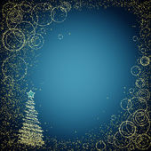 Blue and golden christmas background — Stock Vector