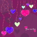 Hanging hearts — Stock Vector