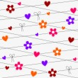 Seamless hearts and flowers hanging on strings — Vector de stock