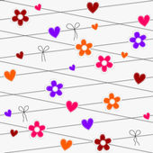 Seamless hearts and flowers hanging on strings — Stock Vector