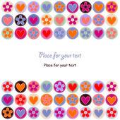 Kalpler ve çiçekler ile şirin kart — Stok Vektör