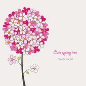 Cute spring tree — Stock Vector