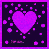 Pink and violet card with heart — Stock Vector