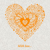 Orange floral heart — Stock Vector