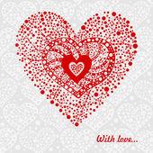 Rood hart op grijs — Stockvector