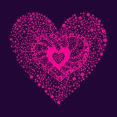 Cuore floreale rosa — Vettoriale Stock