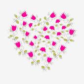 Cute floral heart — Stock Vector