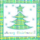 Cute christmas card with tree and snowflakes — 图库矢量图片