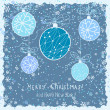 Cute christmas card with hanging decorations and snow — Stock Vector