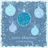 Cute christmas card with hanging decorations and snow — Vector de stock