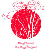 Elegant christmas card with hanging ball, trees and snow — Stockvektor