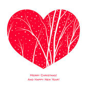 Elegant christmas card with red heart, trees and snow — Vector de stock