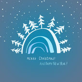 Elegant christmas card with trees and snow — ストックベクタ
