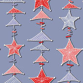 Seamless hanging stars and triangles — Stok Vektör