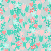 Seamless flowers and hearts — Stock Vector