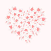 Gentle pink floral heart — Stock Vector
