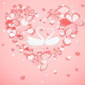Dos cisnes en el corazón floral con forma de marco — Vector de stock
