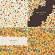 Set of two seamless patterns and two floral cards — Stock Vector