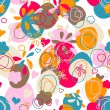 Colorful seamless pattern with flowers, hearts and abstract spot — Stock Vector