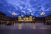 Night view of Plaza Mayor and ancient council of Leon, Spain — Stock Photo