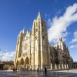 View of Cathedral of Leon at sunset, Leon, Spain — Stock Photo