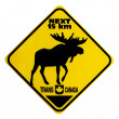Moose Crossing Road Sign  — Stock Photo