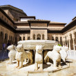Famous Lion Fountain in the Alhambra Palace, Granada, Andalusia, — Stock Photo