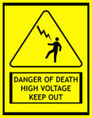 Signal of danger of death by electrocution — Stock Photo