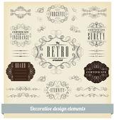 Vector set of calligraphic design elements — Stock Vector