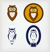 Set of wise owls — Stock Vector