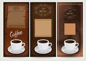 Three coffee design templates. — Stock Vector