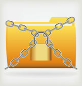 Folder locked by chains — Stock Vector