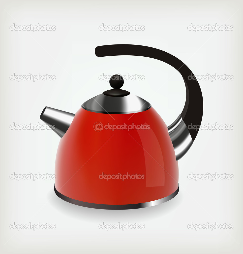 Chrome red kettle. Vector object — Stock Vector #14111208