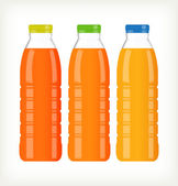 Bottles with juice isolated on white — Stock Vector