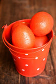 Red tomatoes in a bucket — Foto Stock