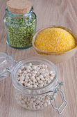 Beans, peas and corn milled — Stock Photo