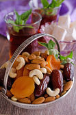 Almonds, dried apricots, cashews, dates, lying in a metal bowl — Stock Photo