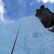 图库照片: Ice climbing from first peson view